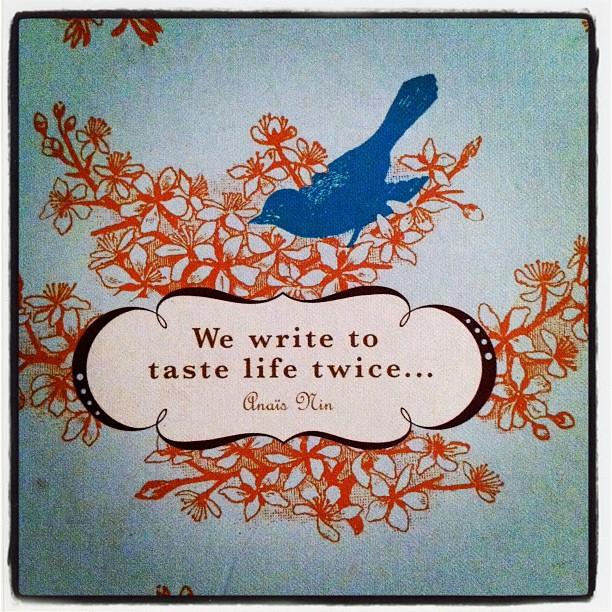 we write to taste life twice