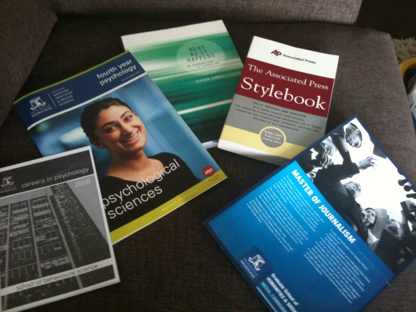 From left: Careers in Psych booklet, Honours in Psych book, News as it happens by Stephen Lamble book, The Associated Press Stylebook, Master of Journalism brochure